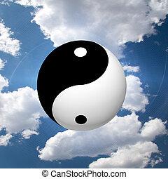 Yin Yang Symbol in Clouds