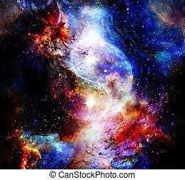 Yin Yang Symbol in cosmic space. Cosmic background.