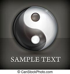 Yin yang symbol on black