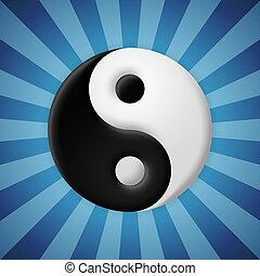 Yin yang symbol on blue rays background