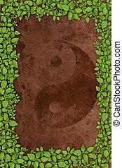 Yin Yang Symbol on old paper background