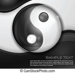 Yin yang symbol isolated on white black background, vector illustration