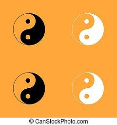 Yin Yang symbol set black and white icon .