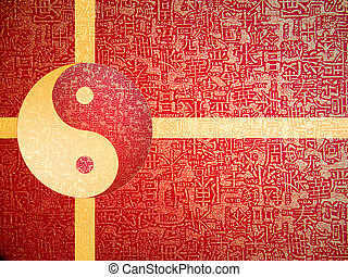 Yin-Yang symbol with chinese letter, The sign of the two...
