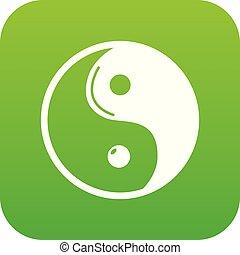 Yin yang symbol taoism icon green vector