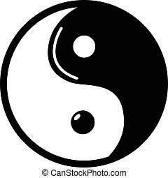 Yin yang symbol taoism icon , simple style