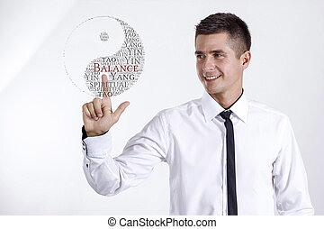 yin yang, symbol-, ung, affärsman, rörande, ord, moln