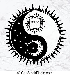 Yin yang symbol with moon and sun
