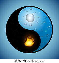 Yin Yang symbol with water and fire