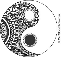 The yin and yang theory very old. Symbol of duality that exists in every element that make up the universe: two opposite and complementary entities that make up the totality