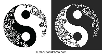 Yin yang two pattern symbol isolated on white, vector...