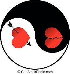 Yin Yang vector - amorousness and broken heart illustration
