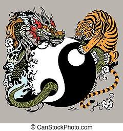 yin yang with dragon and tiger