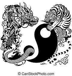 yin yang with dragon and tiger - yin yang symbol with dragon...