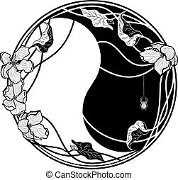yin yang witn apple flowers