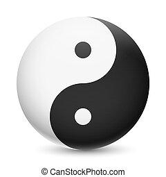 Yin yang - Yin and Yang symbol on white background. Harmony...