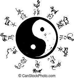 Yin Yang Zodiac - Yin and Yang Tao symbol with surround of...