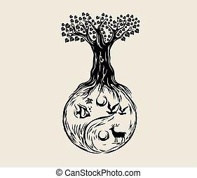ying, árbol, yang