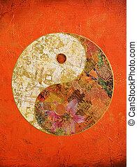 Ying and yang - Collage artwork ying and yang on orange...