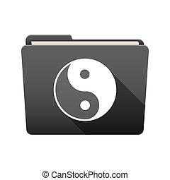 ying, cartella, yang, icona