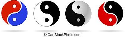 ying, conjunto, yang, icono