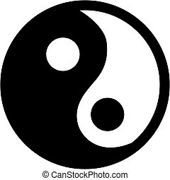 ying, icône, yang, vecteur