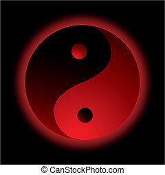 ying, quemadura, yang