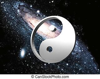 ying, segno, yang, fondo, spazio