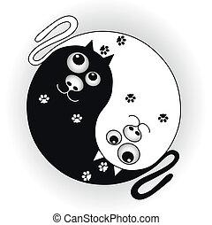 ying, symbole, chats, yang