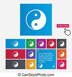 ying, symbool., meldingsbord, yang, harmonie, icon., ...