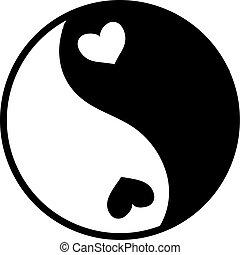 ying, vecteur, yang, blanc, arrière-plan., illustration