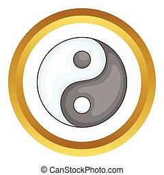 ying, vecteur, yang, icône