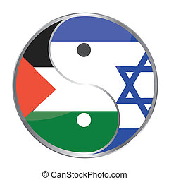 Ying yan symbol with the Israeli and Palestinian flags....