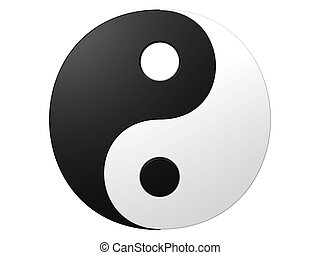 An isolated black and white ying-yang symbol on white background