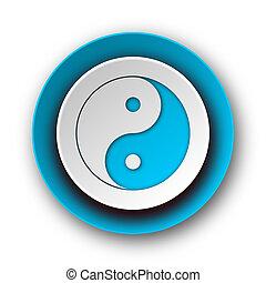 ying yang blue modern web icon on white background