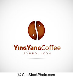Ying Yang Coffee Grain Vector Concept Symbol Icon or Logo Template