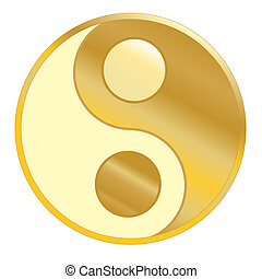 Ying Yang - Golden icon ying yang