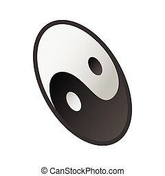 Ying yang  icon, isometric 3d style