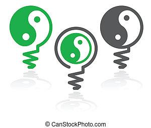 Ying-yang light bulb symbol