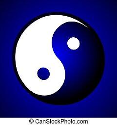 ying yang sign blue