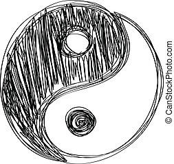 Ying yang sign habd drawn