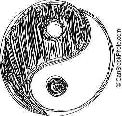 Ying yang sign habd drawn