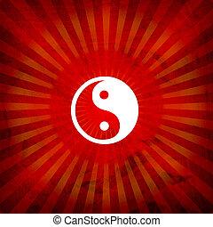 Ying Yang Sign On Burst Background