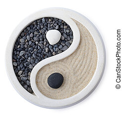 Ying yang - a small zen garden ying yang symbol isolated on...
