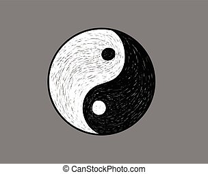 Ying yang symbol hand sketch