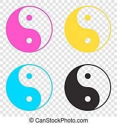 Ying yang symbol of harmony and balance. CMYK icons on transpare