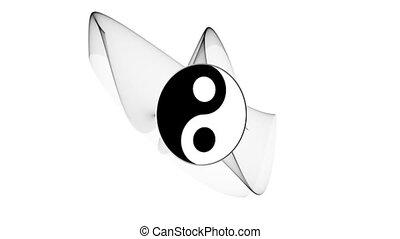 Ying yang symbol of harmony and balance in rotation