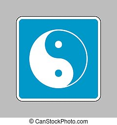 Ying yang symbol of harmony and balance. White icon on blue sign