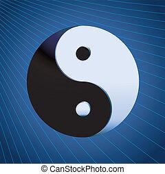 Ying Yang Symbol on blue background, vector illustration
