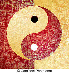 Ying-Yang symbol with chinese letter, The sign of the two...